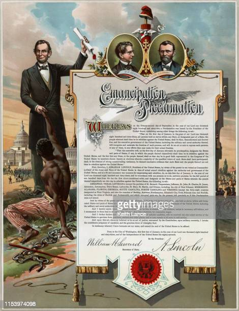 the emancipation proclamation - us president stock illustrations