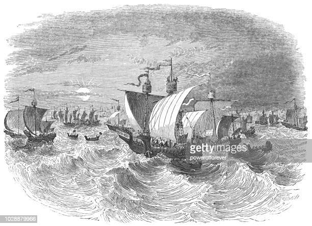 the english naval fleet in the english channel - works of william shakespeare - henry v of england stock illustrations, clip art, cartoons, & icons