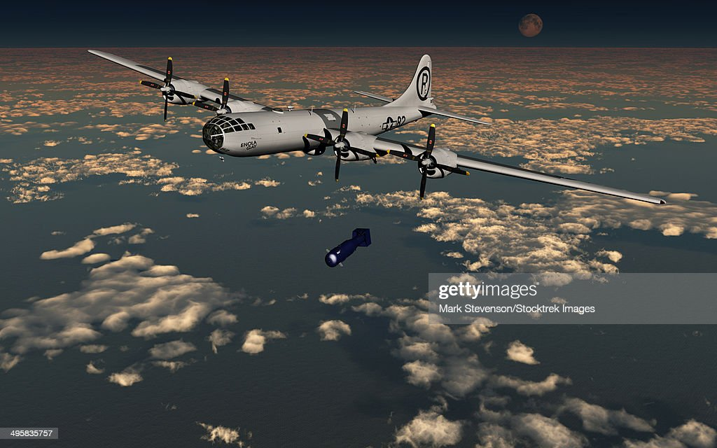 The Enola Gay B-29 Superfortress dropping Little Boy atomic bomb over Hiroshima during World War II. : ストックイラストレーション