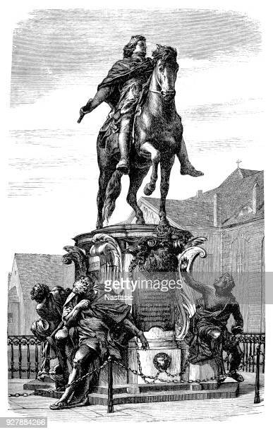 the equestrian statue of frederick william, elector of brandenburg installed outside charlottenburg palace in berlin, germany - charlottenburg palace stock illustrations