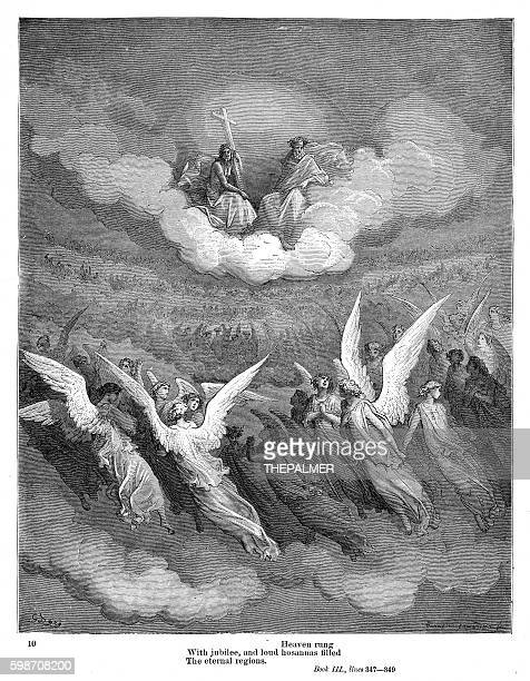 the eternal regions 1885 - john milton stock illustrations, clip art, cartoons, & icons