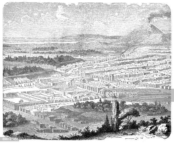 the excavated pompeii - mt vesuvius stock illustrations, clip art, cartoons, & icons