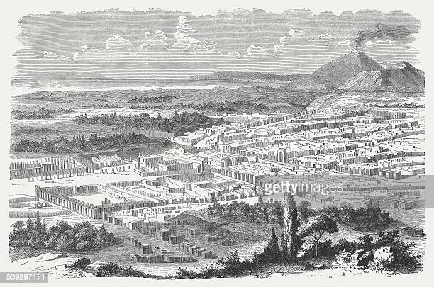The excavated Pompeii, wood engraving, published in 1864