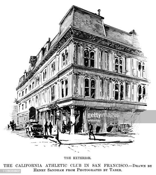 the exterior of the california athletic club in san francisco - corner of building stock illustrations, clip art, cartoons, & icons