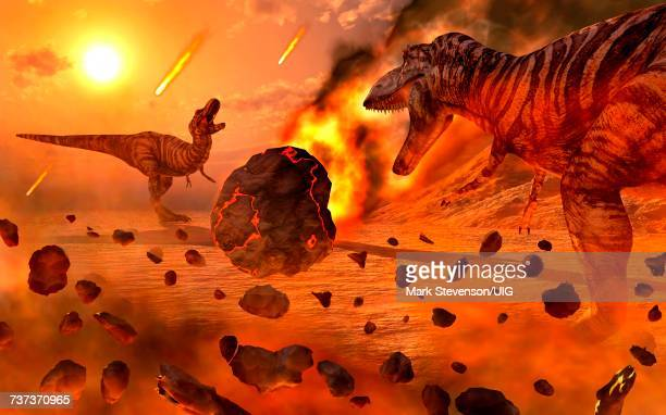 the extinction of the dinosaurs - cretaceous stock illustrations