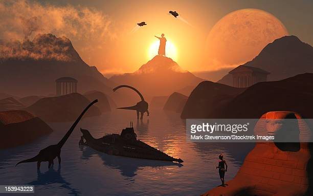 the fabled city of atlantis set in the time of the dinosaurs, during earth's long distant prehistoric past. - space shuttle atlantis stock illustrations