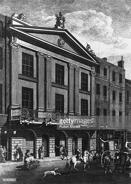 The facade of the Drury Lane Theatre in London.