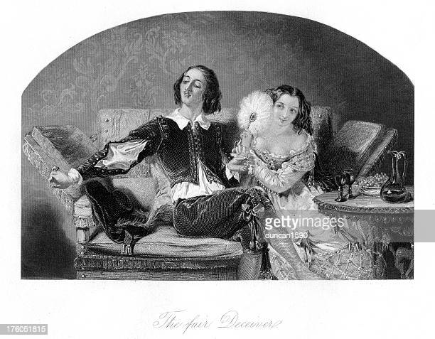 the fair deceiver young couple - 17th century stock illustrations, clip art, cartoons, & icons