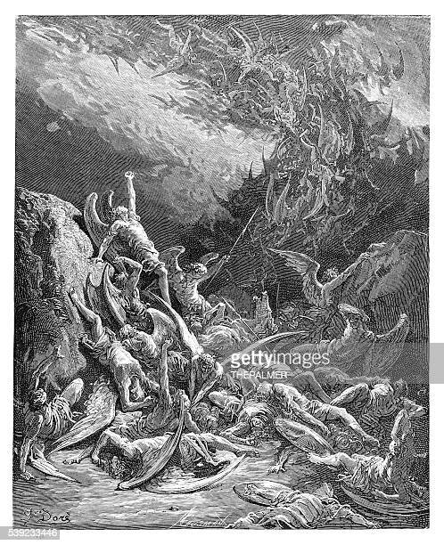 the fall of the rebel angels engraving 1885 - gustave dore stock illustrations, clip art, cartoons, & icons
