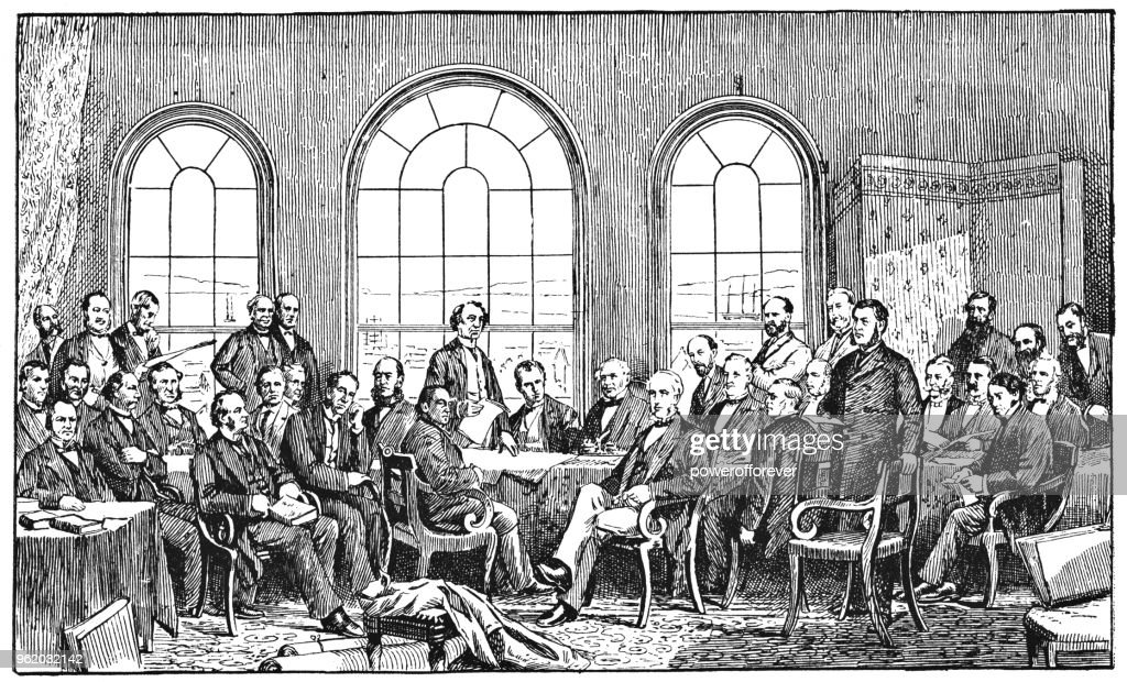 The Fathers of Confederation, Canada - 19th Century : Stock Illustration