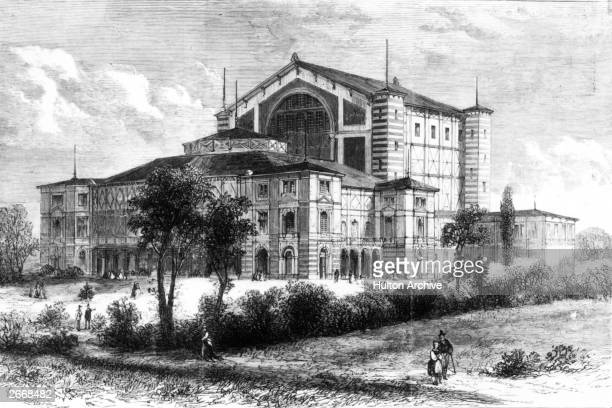 The Festspielhaus or Festival House in Bayreuth, Bavaria, shortly before it was officially opened with a performance of Richard Wagner's operatic...