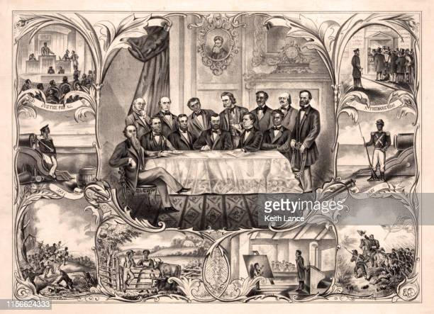 the fifteenth amendment to the u.s. constitution - ulysses s grant stock illustrations
