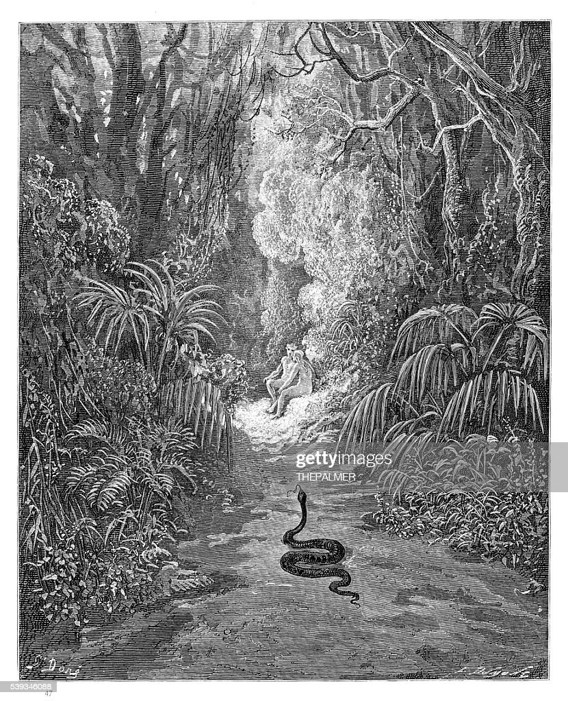 The first approach of the serpent engraving 1885 : stock illustration