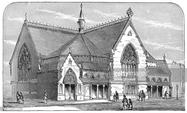 the first brooklyn tabernacle in brooklyn, new york - 19th century - protestantism stock illustrations