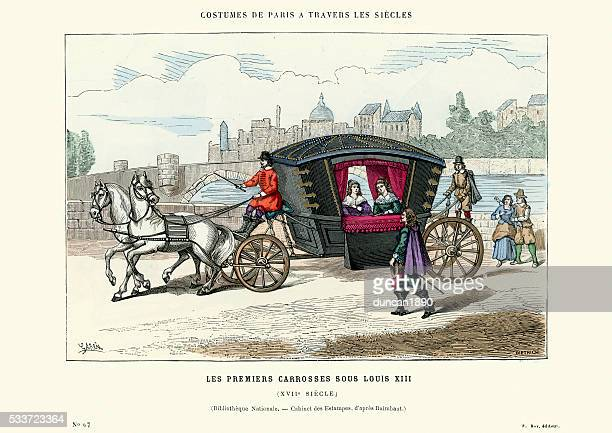 the first coach louis xiii, 17th century - 17th century stock illustrations, clip art, cartoons, & icons