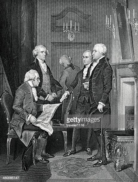 the first presidential cabinet - secretary of the treasury stock illustrations
