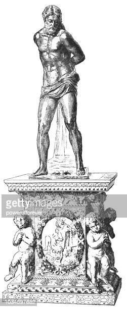 """""""The Flagellation"""" Christ Statue in Red Jasper (17th Century)"""