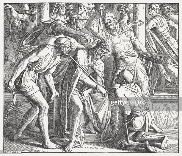 the flagellation of christ (matthew 27), wood engraving, published 1890 - sneering stock illustrations, clip art, cartoons, & icons