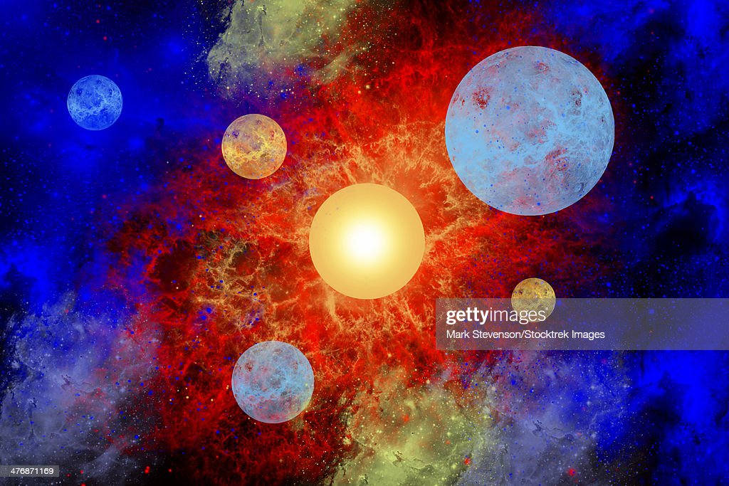 The formation of new planets in an alien star system. : Stock Illustration