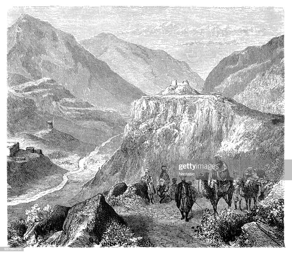The fort of Ali Masjid in the Khyber Pass, 1908 : stock illustration