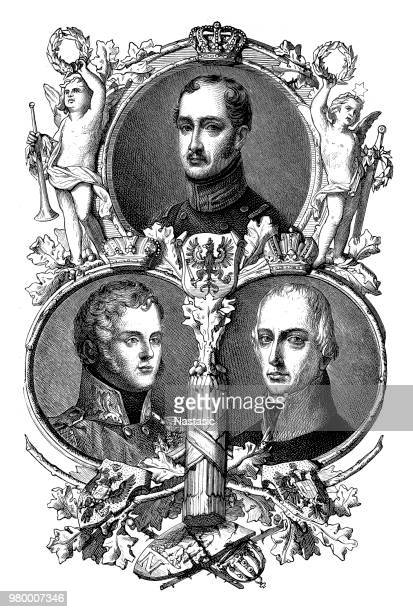 the founders of the holy alliance ,frederick william iii of prussia ,alexander i ,francis i of austria - czar stock illustrations