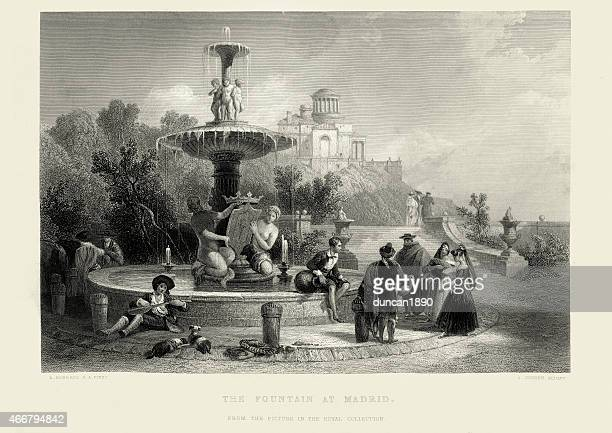 the fountain at madrid, spain - fountain stock illustrations, clip art, cartoons, & icons