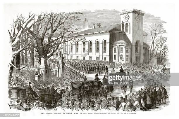 the funeral cortege at boston, massachusetts of the soldiers killed at baltimore civil war engraving - baltimore maryland stock illustrations, clip art, cartoons, & icons