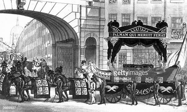 The funeral cortege of English naval commander Horatio Nelson makes it way up Temple Bar in London on its way to St Paul's Cathedral.