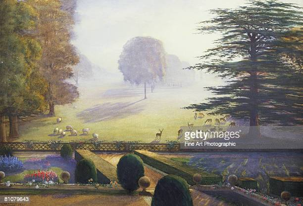 the garden as escrick hall, yorkshire, 1921 - outdoors stock illustrations