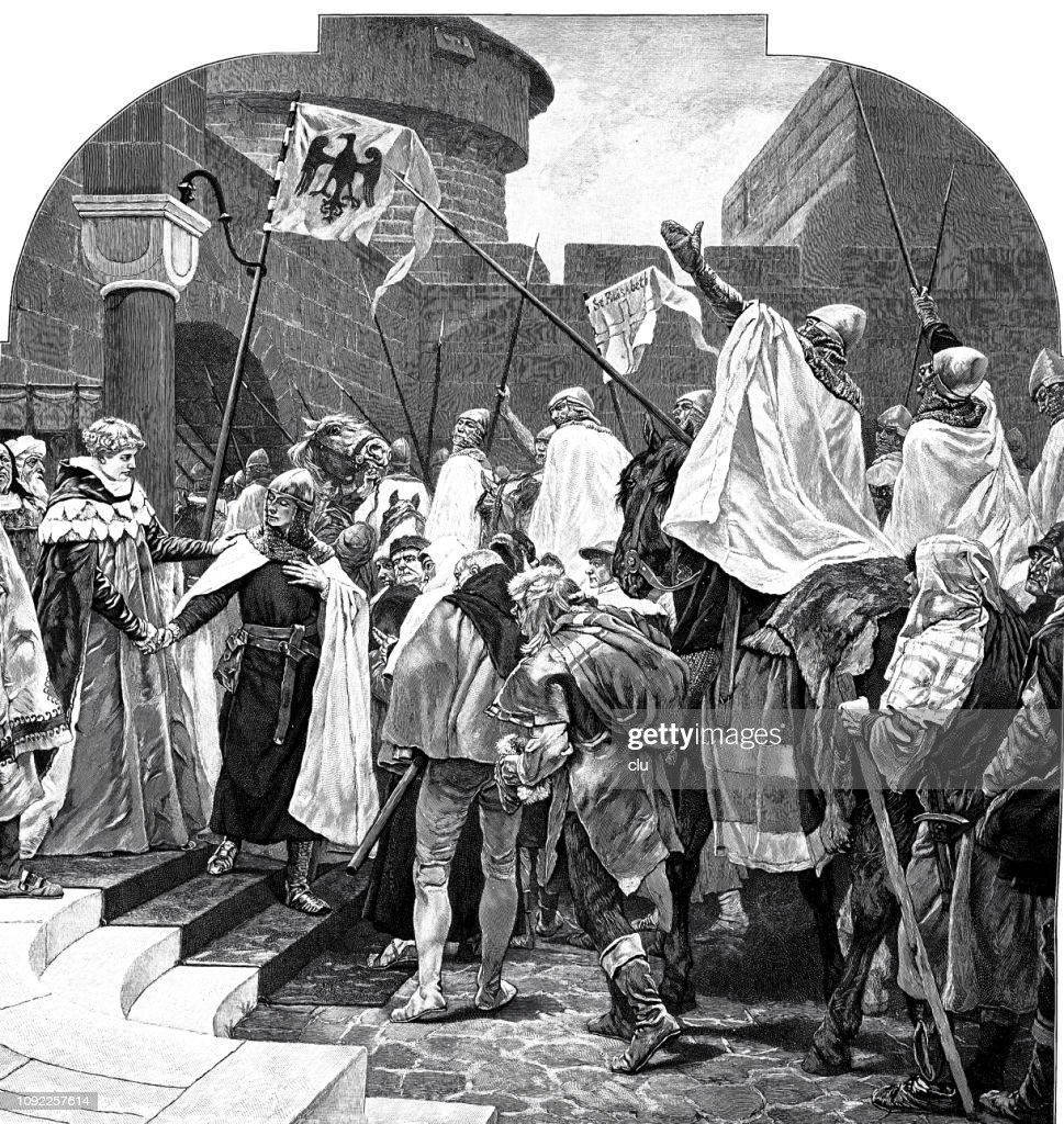The German Emperor Friedrich II bid farewell to the knights of the Deutsche Orden in Marburg : stock illustration