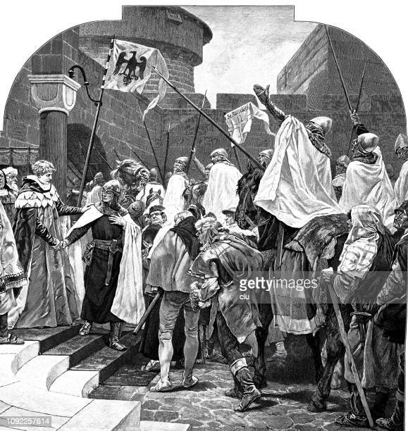 The German Emperor Friedrich II bid farewell to the knights of the Deutsche Orden in Marburg