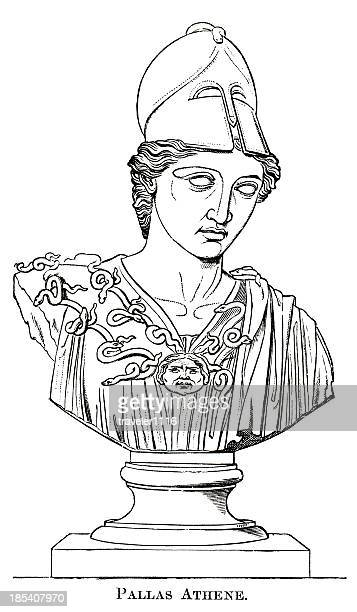 the goddess athena - chest torso stock illustrations, clip art, cartoons, & icons