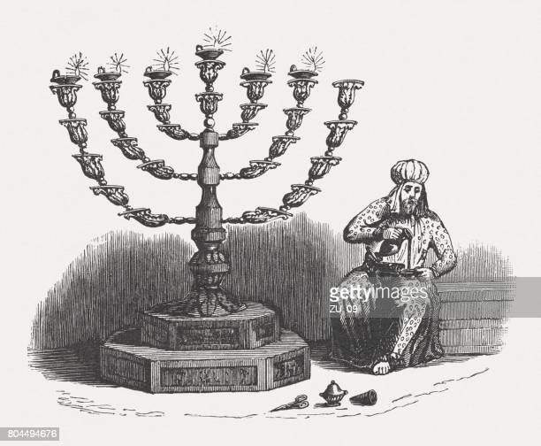 The Golden Lampstand (Exodus 25, 31-40), wood engraving, published 1886