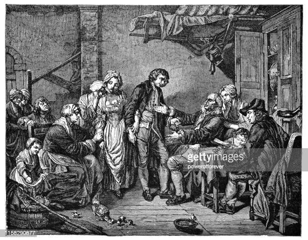 the grant of village by jean-baptiste greuze - 18th century - 18th century stock illustrations