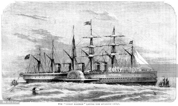 "the ""great eastern"" steamship laying the atlantic cable - steel cable stock illustrations"