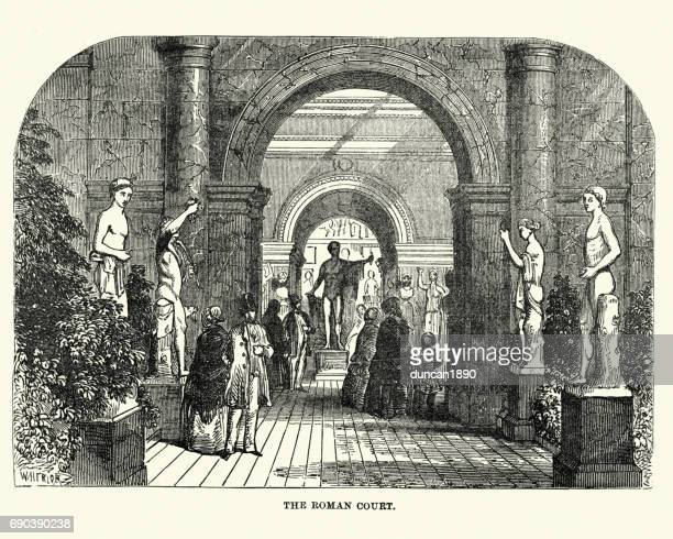 the great exhibition 1851 - the ancient roman court - great exhibition stock illustrations, clip art, cartoons, & icons