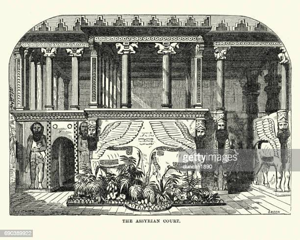 the great exhibition 1851 - the assyrian court - great exhibition stock illustrations, clip art, cartoons, & icons