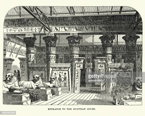 the great exhibition 1851 - the egyptian court - great exhibition stock illustrations, clip art, cartoons, & icons