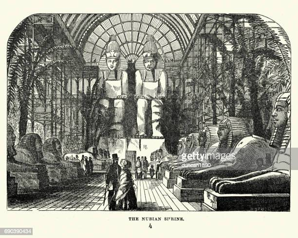 the great exhibition 1851 - the nubian court - the sphinx stock illustrations, clip art, cartoons, & icons