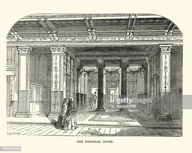the great exhibition 1851 - the pompeian court - great exhibition stock illustrations, clip art, cartoons, & icons