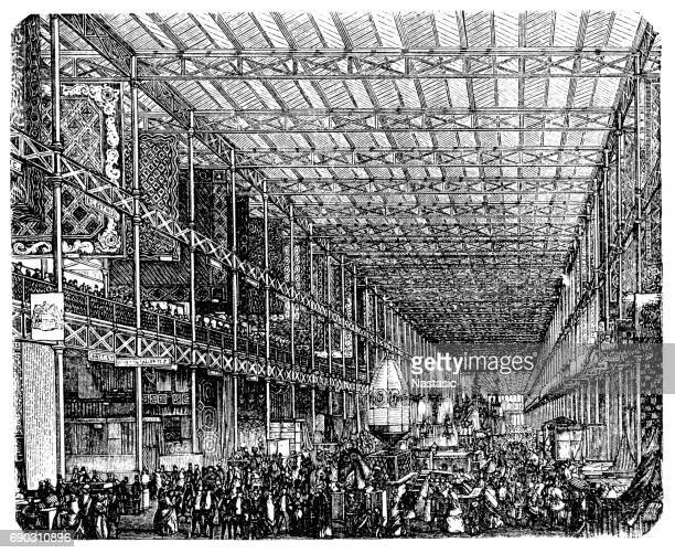 the great exhibition ,crystal palace to sydenham 1852 - great exhibition stock illustrations, clip art, cartoons, & icons