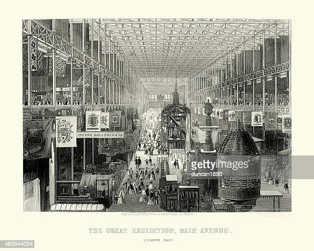 the great exhibition, main avenue, 1851 - great exhibition stock illustrations, clip art, cartoons, & icons