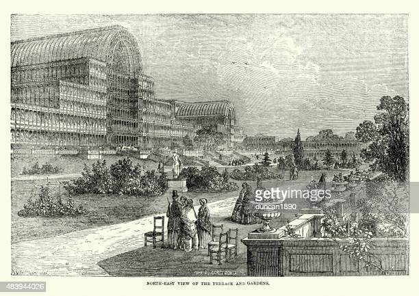 the great exhibition, terrace and gardens, 1851 - great exhibition stock illustrations, clip art, cartoons, & icons