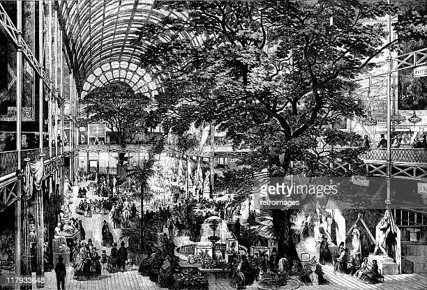 the great exhibition trancept 1851, illustrated london news - great exhibition stock illustrations, clip art, cartoons, & icons