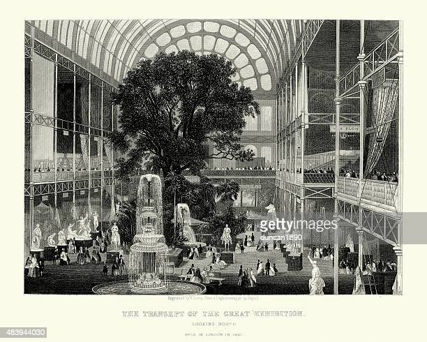 the great exhibition, transept, 1851 - great exhibition stock illustrations, clip art, cartoons, & icons