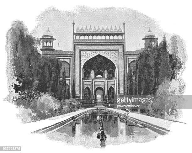 The Great Gate at the Taj Mahal in Agra, India - British Era