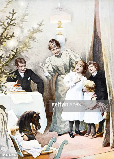 the great moment at christmas: mother leads children to the living room with christams tree and gifts - christmas past and christmas present stock illustrations