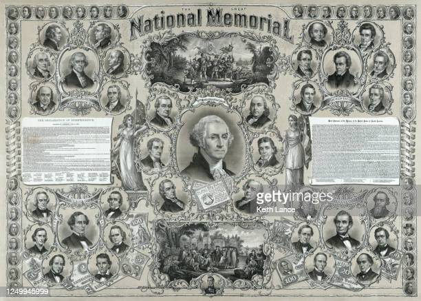 the great national memorial - declaration of independence stock illustrations
