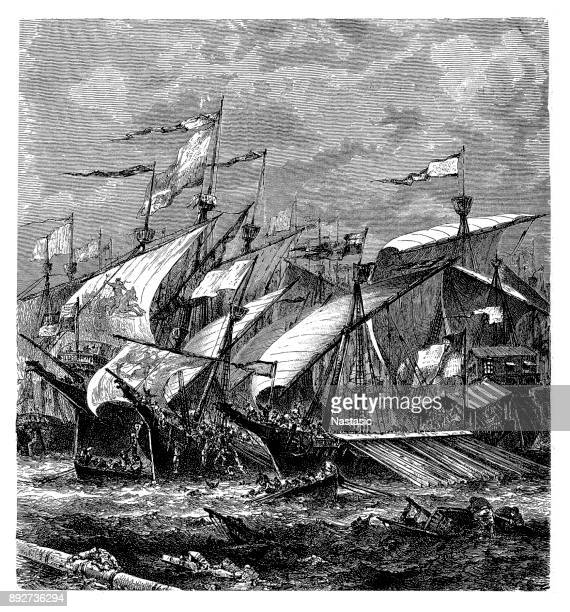 the great sea fight of sluys ,battle of sluys - hundred years war stock illustrations, clip art, cartoons, & icons