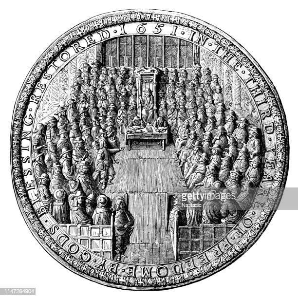 ilustrações, clipart, desenhos animados e ícones de o grande selo da inglaterra (tempo de cromwell) - great seal